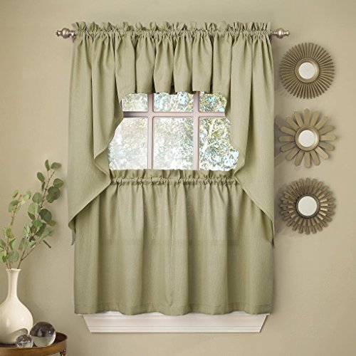 (Sweet Home Collection 5 Pc Kitchen Curtain Set - Valance Swag Choice of 24