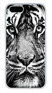 iPhone 5 5S Case Tiger PC Custom iPhone 5 5S Case Cover White