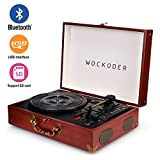 Wockoder Portable Bluetooth 3 Speed Turntable with Built in Stereo Speakers, Vintage Style Vinyl Record Player