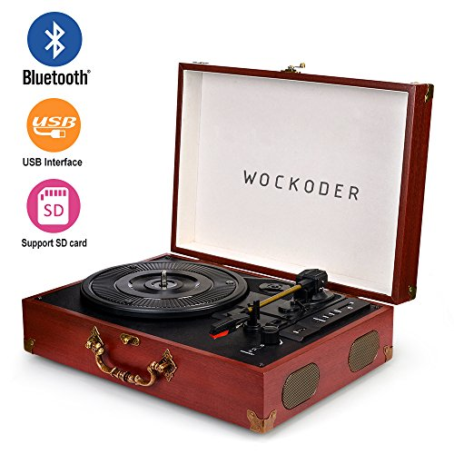 Wockoder Portable Bluetooth 3 Speed Turntable with Built in
