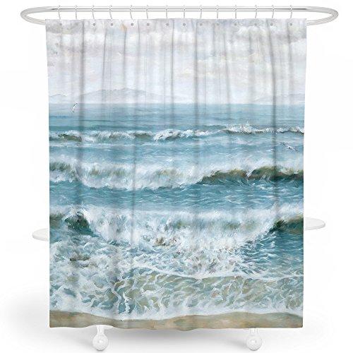 Ocean View Bath - Livetty Shower Curtain, Navy Blue Beach Ocean View Sea Wave