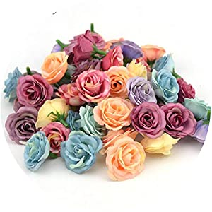 HANBINGPO 10pcs 3cm Mini Rose Cloth Artificial Flower for Wedding Party Home Room Decoration Marriage Shoes Hats Accessories Silk Flower 58