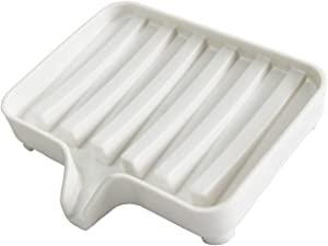 Draining Soap Dish, Sponge Holder Plate Easy to Clean Rustic Waterfall Plastic White Hand Soap Tray for Shower Bathroom Tub Kitchen Sink Laundry Countertop Mum Kids Girls Men Body Bath Soap Bar