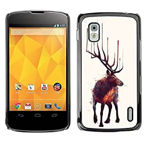 GOODTHINGS Funda Imagen Diseño Carcasa Tapa Trasera Negro Cover Skin Case para LG Google Nexus 4 E960 - alces arte de la naturaleza animal de la pintura bosque salvaje