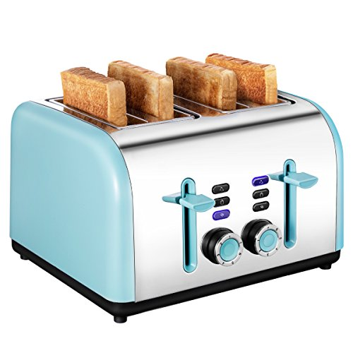Toaster 4 Slice Wide Slot, Kitchen Toaster Stainless Steel Compact, Sleek Bread Toaster Best Rated with Quick Defrost Reheat Cancel Button by KEEMO by Keemo