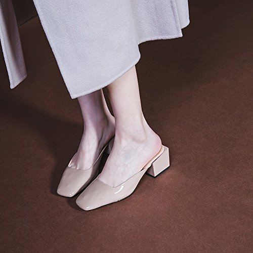 alto scarpe Baotou Qingchunhuangtang tacco pantofole Slacker Apricot Cool Ladies' tacco Sandali p6qg4w