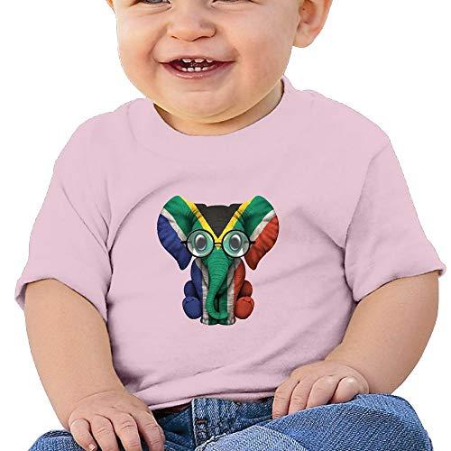 UAJAR Elephant South Africa Flag 6-24 Months Baby Crewneck Short Sleeve Newborn Tops (Best Formula For Newborn Babies South Africa)
