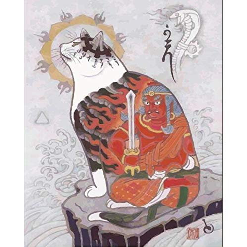 Jigsaw Puzzle 1000 Piece 3D Puzzle DIY Samurai Cat Tattoo Cat Japanese Style Modern Abstract for Home -
