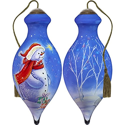 Ne'Qwa Art Hand Painted Blown Glass Thinking of You This Christmas Ornament, Snowman ()