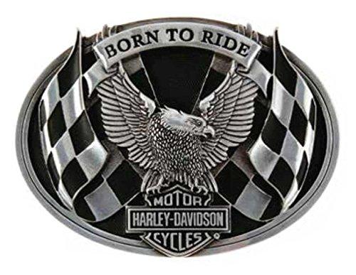 [Harley-Davidson Men's Belt Buckle, Born To Ride Racing Eagle, Silver HDMBU10783] (Harley Belt Buckles)