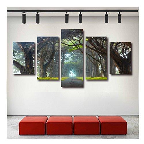 Stretch Canvas Gallery Wrap (Artrend W5183 Myst Tree Road Landscape Stretch Canvas Multi Panel Art Framed Large Set Gallery Wrap)