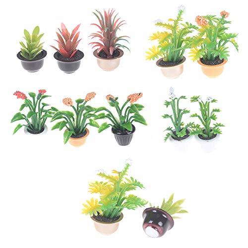 Acamifashion Miniature 1:12 Plant Bonsai Model Play Toys Garden Patio Decoration Random Pattern