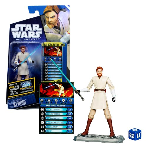 Hasbro Year 2010 Star Wars The Clone Wars Galactic Battle Game Series 4 Inch Tall Action Figure - CW40 OBI-WAN KENOBI with Blue Lightsaber, Battle Game Card, Die and Figure Display Base