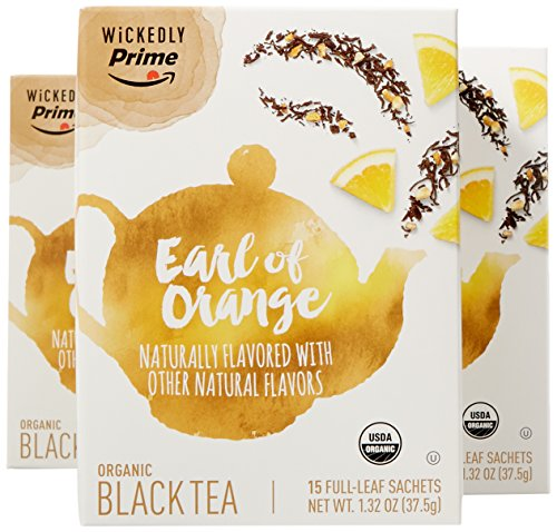 Wickedly Prime Organic Black Tea, Earl Of Orange, 15 Count (Pack of 3)