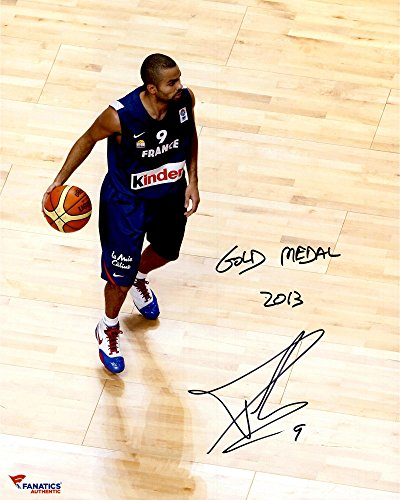 Antonio Gold San Coins (Tony Parker San Antonio Spurs Autographed 16'' x 20'' Team France Photograph with Gold Medal Inscription - Fanatics Authentic Certified)