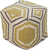 Surya Cube Hand Made Wool Pouf, 18 by 18 inches, Gold, Ivory, Gray