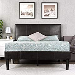 The Deluxe Faux Leather Platform Bed by Zinus will transform your bedroom. It ships in one carton with the frame, legs, and wooden slats conveniently located in the zippered compartment in the back of the headboard for easy assembly....