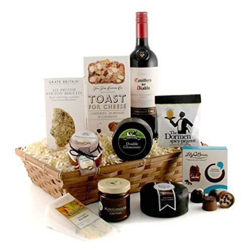 Cheese and Wine Gift Basket - Cheese Lover's Luxury Hamper ...