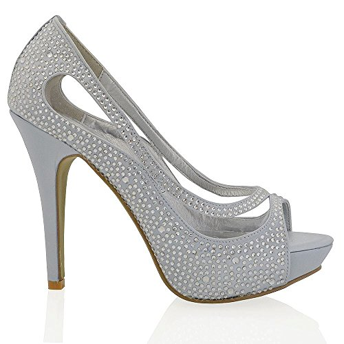 Essex Glam Womens Platform High Heel Peep Toe Satin Diamante Bridal Prom Shoes Silver Satin yNEM72f