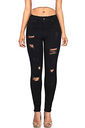 a843b571aee4 DaCoCo Women s Destroyed Stretchy 5 Pocket Black Skinny Jeans Black 1