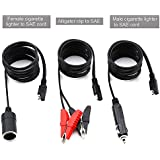 Cigarette Lighter Adapter Splitter, 12V / 24V Extension Cord with Cigarette Lighter Plug and Battery Clip-on Car Cigarette Lighter Socket Adapter [12 Feet Extension Cord- 6 feet Per Cord- Max 14A