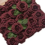 Ling's moment Artificial Flowers Roses 50pcs Real Looking Burgundy Fake Roses w/Stem for DIY Wedding Bouquets Centerpieces Arrangements Party Baby Shower Home Decorations