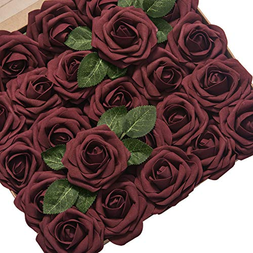 Ling's moment Artificial Flowers Roses 50pcs Real Looking Burgundy Fake Roses w/Stem for DIY Wedding Bouquets Centerpieces Arrangements Party Baby Shower Home Decorations ()