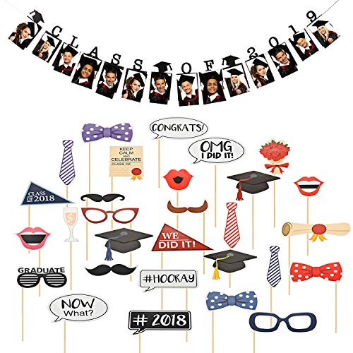 2019 Grad Cap Photo Banner with Photo Booth Props