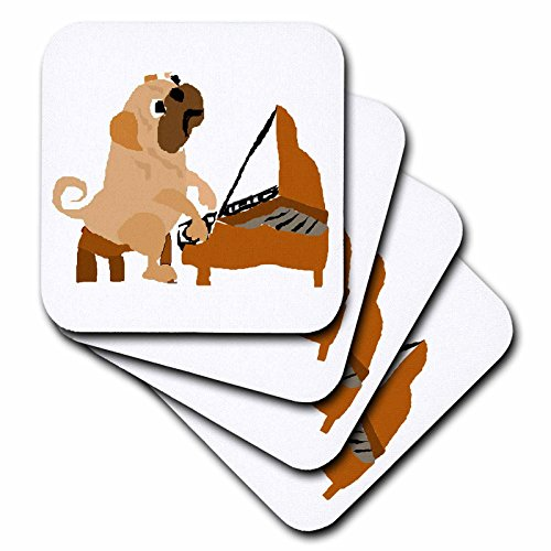 - 3dRose Funny Pug Dog Playing The Piano - Ceramic Tile Coasters, Set of 4 (CST_221354_3)
