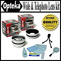 Opteka 0.45x Wide Angle & 2.2x Telephoto HD2 Pro Lens Set for Canon PowerShot A540 A520 A510 A95