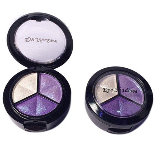 Eyeshadow - TOOGOO(R)Professional Smoky Cosmetic Set 3 Colors Natural Matte Eyeshadow Makeup Tools Palette Naked Nude Eye Shadow Glitter #8 white + Purple + light purple