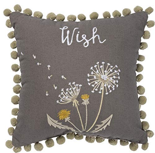 Primitives by Kathy Wish Embroidered Dandelions Throw Pillow, Cotton Linen Blend Cushion with Pom-Pom Accents, 12