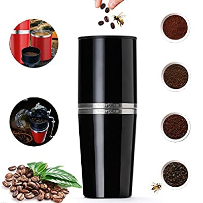 Coffee Grinders,Suplong Brewers Master Manual Coffee Maker Machines Coffee Bean Premium Ceramic Burr Hand Crank Portable Coffee Mill Set All-in-one 240ml 304 Stainless Steel Cup For Espresso