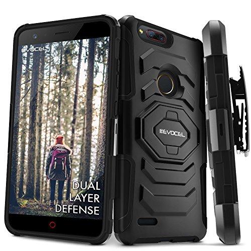 ZTE Blade Z Max (Z982) Case, Evocel [New Generation Series] Belt Clip Holster, Kickstand, Dual Layer for ZTE Blade ZMax/ZTE Z982 / ZTE Sequoia, Black (EVO-ZTESEQUOIA-XX01) (Metro Zte Phone Cases)
