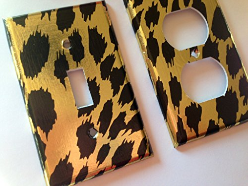 Gold Leopard Light Switch Cover - Various Size Light Switchplates Offered