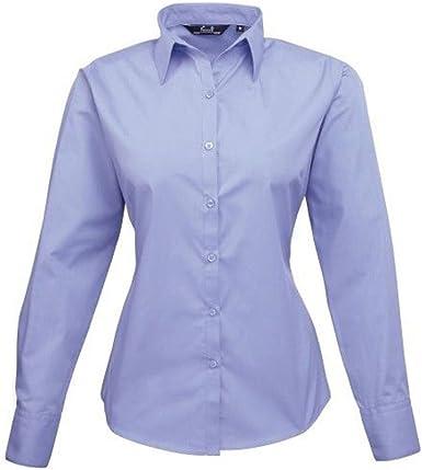 Blusa de manga larga de popelina para mujer, camisa de trabajo, liso Azul Mediados De Azul 36: Amazon.es: Ropa y accesorios