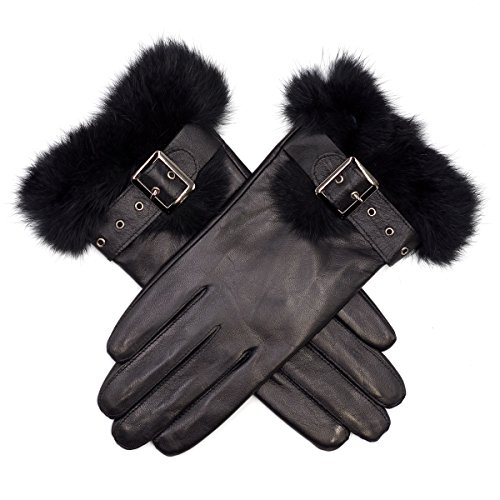 Harssidanzar Womens Touchscreen Texting Leather Gloves Touch Screen Rabbit Fur Cuff (Women Leather Gloves Touch Screen)