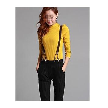 6 Clips Splicing Suspenders Stylish Jacquard Belt Men/'s Y-back Clip-on Braces