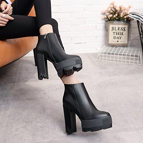 KPHY-12 Cm Ultra kurze Stiefel mit weiblichen schwarzen runden wasserdicht Kopf einzelne Schuhe wasserdicht runden Konsole Zipper Dick mit Martin Stiefel Weiblich  Thirty-six d8c831