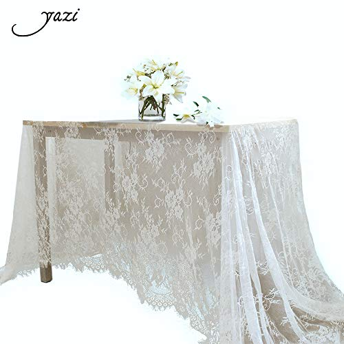yazi 60x120 inch White Lace Table Runner Spring Summer Classical Wedding Decor, Table Runner Lace Overlay Baby & Bridal Party -