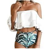 Women's High-waisted Bikini Set Off Shoulder Push-up Padded Floral Print Swimwear Beachwear