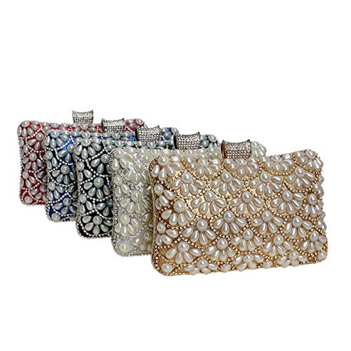 Bags Clutch Wedding Fangyou1314 Rosso Womens Bag colore Evening Argento Party Rq6R14TI