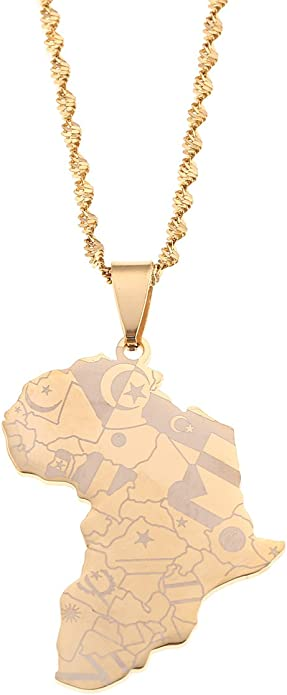 QUVLOTIAZJ Africa map Pendant,Africa map Necklace Charm,Fashion map Jewelry,map Jewellery,Fashion map Pendant map African Continent,ot18