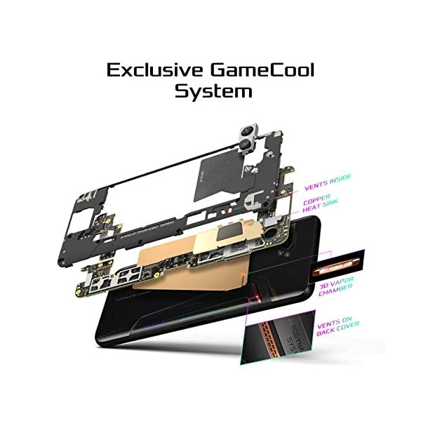 "ASUS ROG Gaming Phone II (ZS660KL-S855P-12G512G-BK) - 6.6"" FHD+ 2340x1080 HDR 120Hz Display - 48MP/13MP Camera – 12GB RAM - 512GB Storage - LTE Unlocked Dual SIM Cell Phone - US Warranty - Black 3"