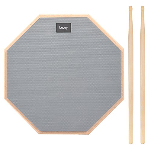 (Luvay 12-inch Silent Drum Practice Pad (Grey), with 5A DrumSticks)