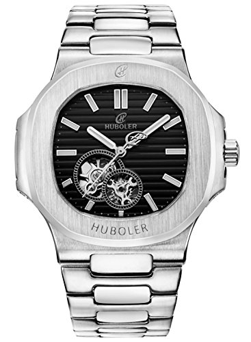 HUBOLER Men's Automatic Self-wind mechanical Watch Black Dial H013 - Automatic Watch Stainless Steel Band