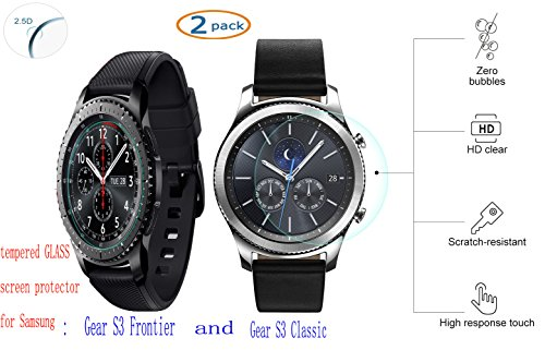 Price comparison product image Samsung Galaxy Gear S3 Smart WatchScreen Protector,SinLoon [2 PACK]Ultra-thin 2.5D9H Hardness HD clear Scratch Resistant Tempered Glass Screen Protector forFrontier /Classic smartwatch(S3)