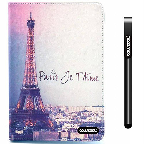 CowCool® iPad Mini 2 Case, Apple Ipad Mini 2 Case, The Eiffel Tower Paris Je Taime PU Leather Hand Stitching Wallet Stand Kickstand Case for Ipad Mini 2 (Style1)