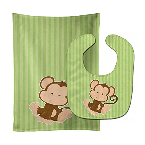 Caroline's Treasures Monkey On Stripes Baby Bib & Burp Cloth, Multicolor, Large