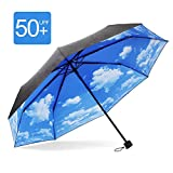 MyLifeUNIT Travel UV Umbrella with Perfect Day Sky Print Inside